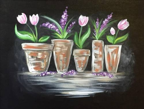 A Spring Flower Pots paint nite project by Yaymaker