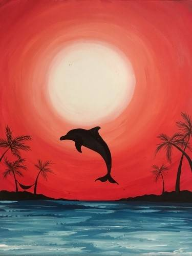 A Hot Summer Dolphin paint nite project by Yaymaker