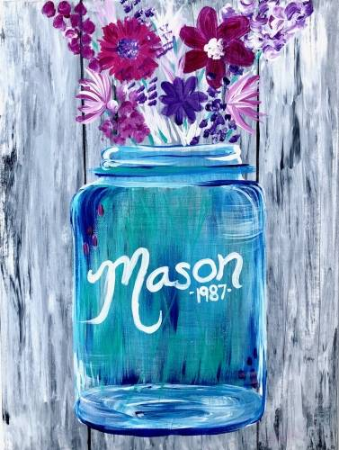 A Mason Jar Blossoms paint nite project by Yaymaker