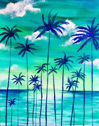 A Teal Palm Sunset paint nite project by Yaymaker