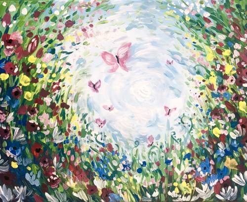 A Butterfly Garden Surprise paint nite project by Yaymaker