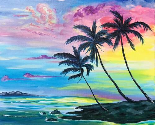A Palm Tree Daze paint nite project by Yaymaker