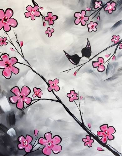 A Cherry Blossom Kissy Kissy paint nite project by Yaymaker