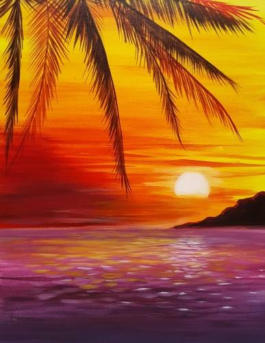 A Sizzling Sunset paint nite project by Yaymaker