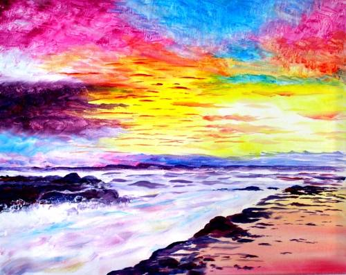 A August Sunrise paint nite project by Yaymaker