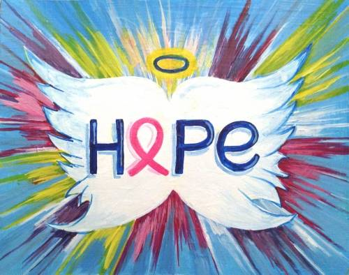 A Breast Cancer Angel Wings of Hope paint nite project by Yaymaker