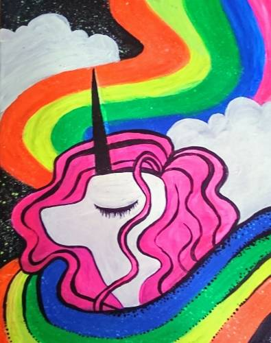 A Rainbow Neon Unicorn paint nite project by Yaymaker