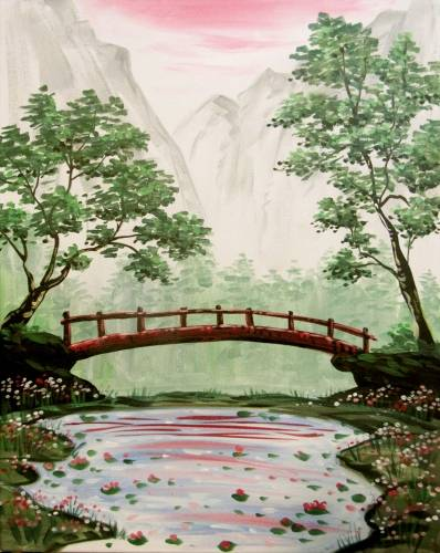 A The Hidden Bridge and Pond paint nite project by Yaymaker