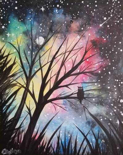 A Howl Owl Galaxy paint nite project by Yaymaker