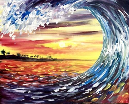 A Sunset Sea Curl paint nite project by Yaymaker