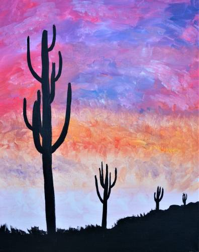 A Saguaro Sunset paint nite project by Yaymaker