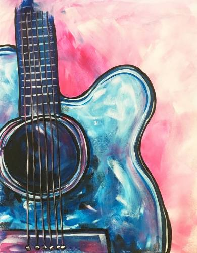 A Electric Blue Guitar paint nite project by Yaymaker