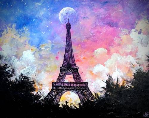 A Colorful Evening in Paris paint nite project by Yaymaker