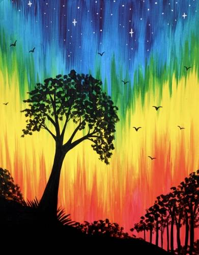 A Bright Rainbow Night paint nite project by Yaymaker