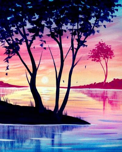 A Summer Trees paint nite project by Yaymaker