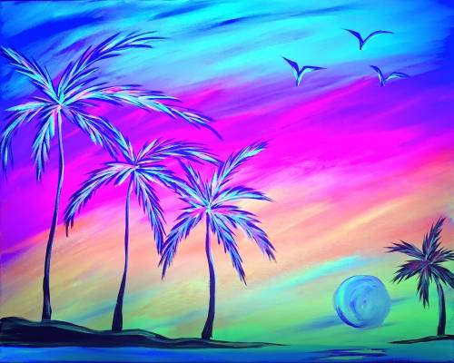 A Glowing Palm Paradise Black Light paint nite project by Yaymaker
