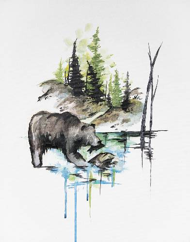 A Claire The Bear In Mountain Air paint nite project by Yaymaker