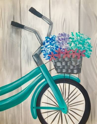 A Teal Bike  Basket paint nite project by Yaymaker