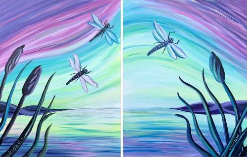 A Dragonfly Dance  Partner Painting paint nite project by Yaymaker