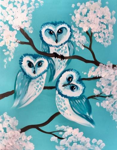 A Turquoise Baby Owls paint nite project by Yaymaker