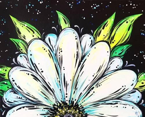 A Beautiful White Daisy paint nite project by Yaymaker