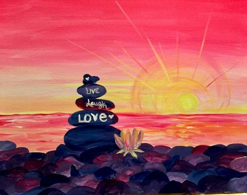 A Zen Sunset Love paint nite project by Yaymaker