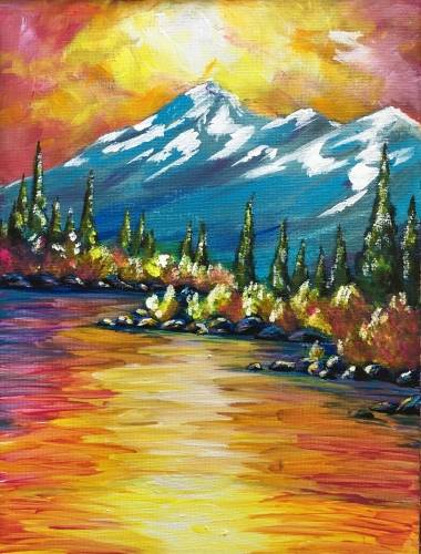 A Blue Mountain Sunset paint nite project by Yaymaker