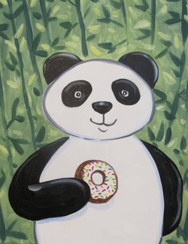 A Donut Eating Panda paint nite project by Yaymaker