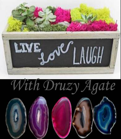 A Druzy Agate in Chalkboard Planter plant nite project by Yaymaker