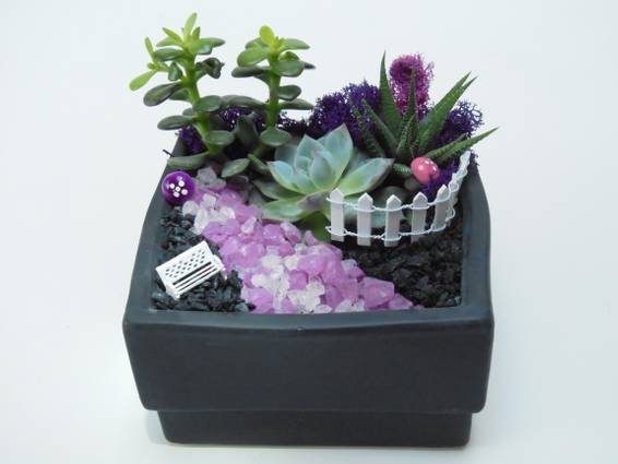 A Garden Bench  Black Square Ceramic plant nite project by Yaymaker