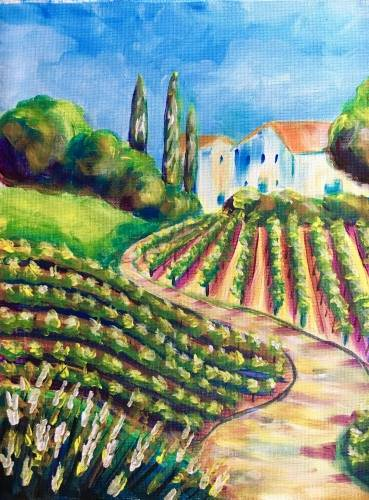 A Rolling Vineyard Hills paint nite project by Yaymaker