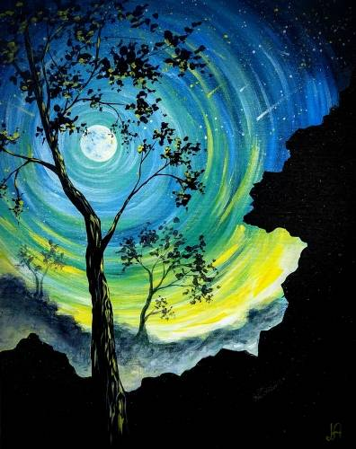 A Teal Moonlit Tree paint nite project by Yaymaker
