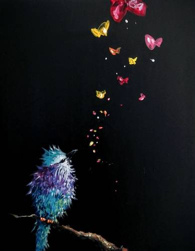 A Bird and Butterflies paint nite project by Yaymaker