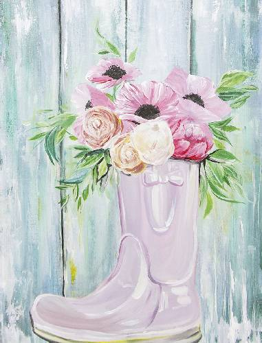 A Rain Boot Flowers By Barn Wood paint nite project by Yaymaker