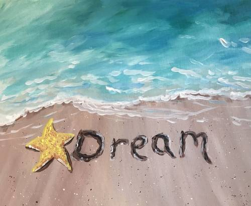 A Wish Upon A Starfish paint nite project by Yaymaker
