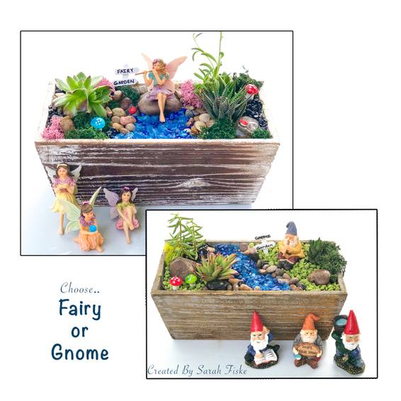 A Fairy or Gnome Garden in Distressed Wood plant nite project by Yaymaker