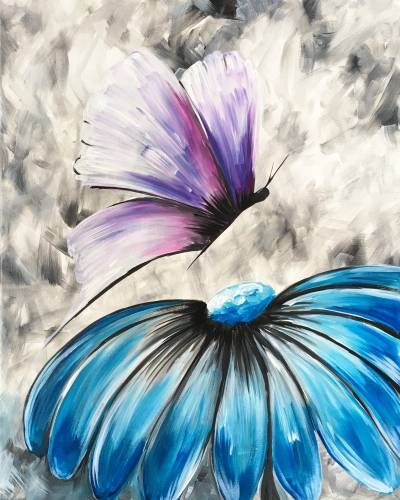 A Flower and Butterfly paint nite project by Yaymaker