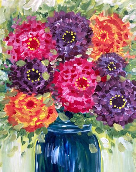 A Zinnias in a Mason Jar paint nite project by Yaymaker