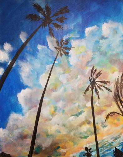 A A Breeze through Palm Trees paint nite project by Yaymaker