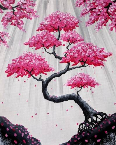 A Bonsai Blossom Falls paint nite project by Yaymaker