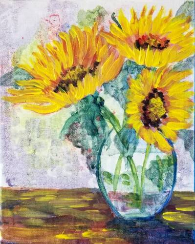 A Sunflowers In Watercolor paint nite project by Yaymaker