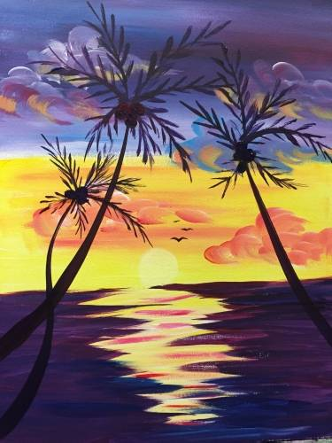 A Summer Sunset Vibes paint nite project by Yaymaker
