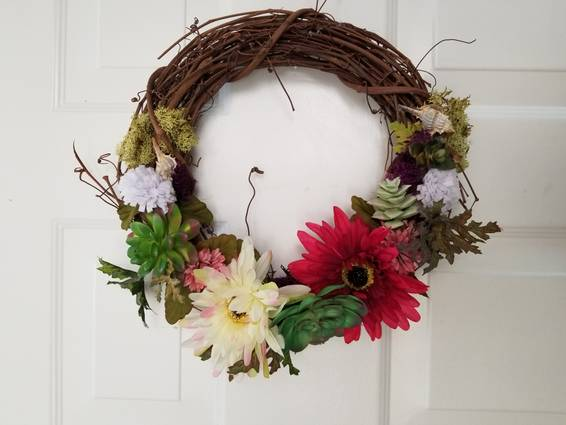 A Summer Wreath  Faux Succulents Felt and Silk Flowers plant nite project by Yaymaker