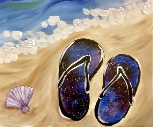 A Galaxy Flip Flops paint nite project by Yaymaker