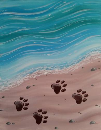 A Pawprints in the Sand paint nite project by Yaymaker