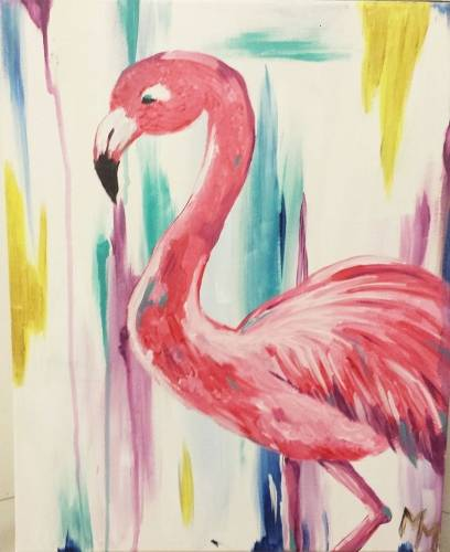 A Pinky the Flamingo paint nite project by Yaymaker