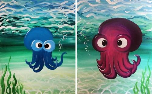 A Ollie and Ellie the Octopus Partner Painting paint nite project by Yaymaker
