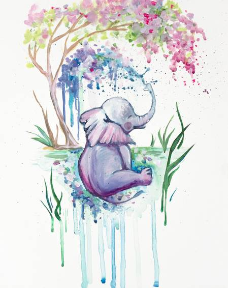 A Emily The Elephant Makes A Splash paint nite project by Yaymaker