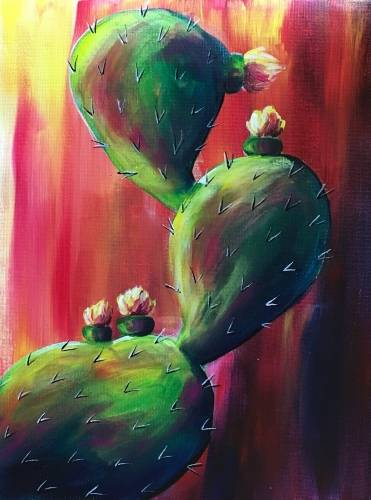 A Warm Cactus Flowers paint nite project by Yaymaker