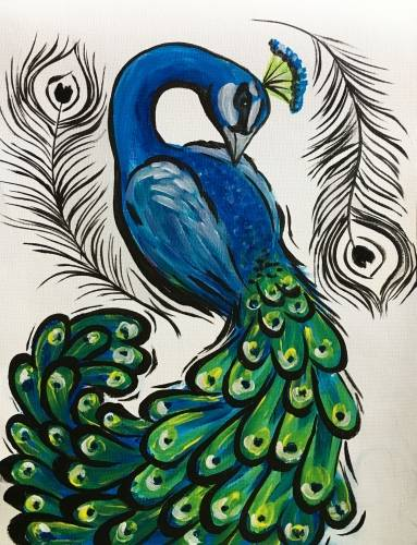 A Peacock and Feathers paint nite project by Yaymaker
